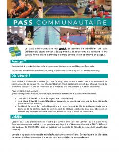 Depliant infos pass communautaire