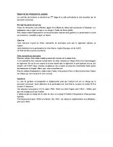 Informations services périscolaires