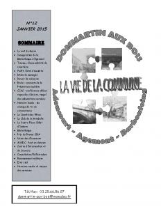La Vie de la Commune n° 12 – Janvier 2015