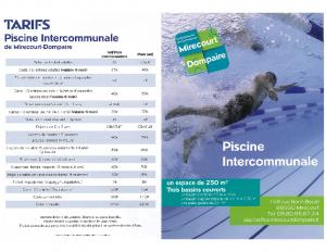 Plaquette tarifs piscine intercommunale de Mirecourt-Dompaire